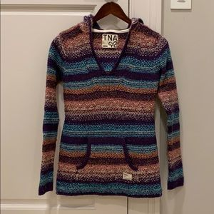 TNA ombré coloured knitted hoodie size XS